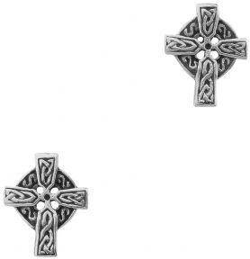 Celtic Cross Silver Plated Stud Earrings 9303